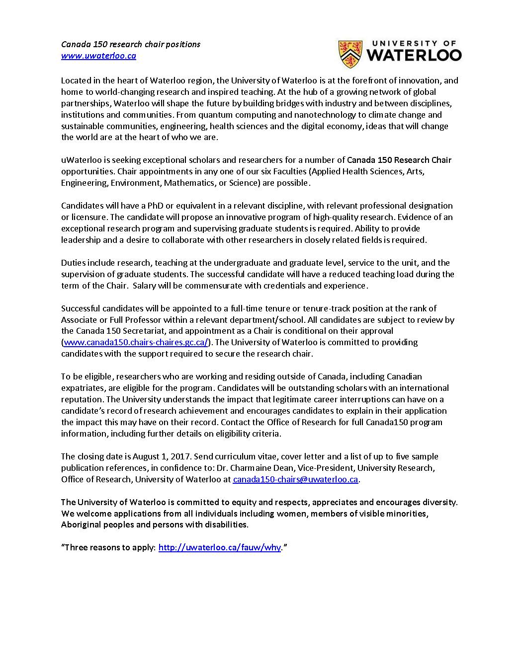 Canada 150 Research Chairs Positions u2013 University of Waterloo (Aug. 1 deadline)  sc 1 st  Association of Canadian College and University Teachers of English & Canada 150 Research Chairs Positions u2013 University of Waterloo (Aug ...